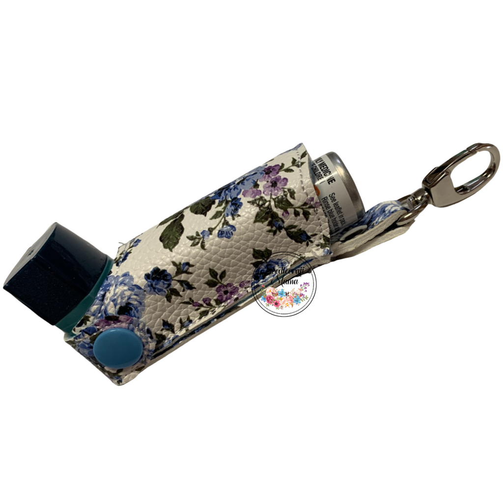 Inhaler Holder Vinyl Floral Blue & Violet on White Background with silver lobster clip