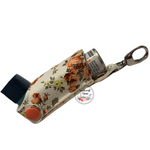 Inhaler Holder Vinyl Orange Floral on white Background with quality silver lobster clip