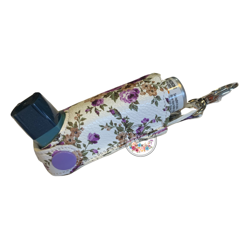 Inhaler Holder Vinyl Floral Purple on White Background with quality lobster clip