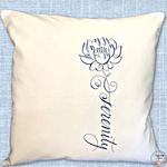 Cushion Cover Machine Embroidered 'Serenity' saying in navy thread on 100% White Cotton Canvas with plain zippered back