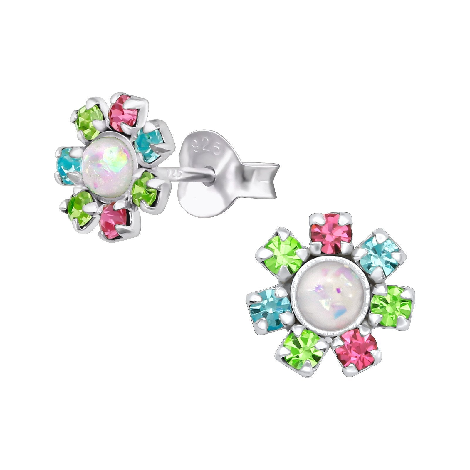 Flower Earring With Crystal And Opal