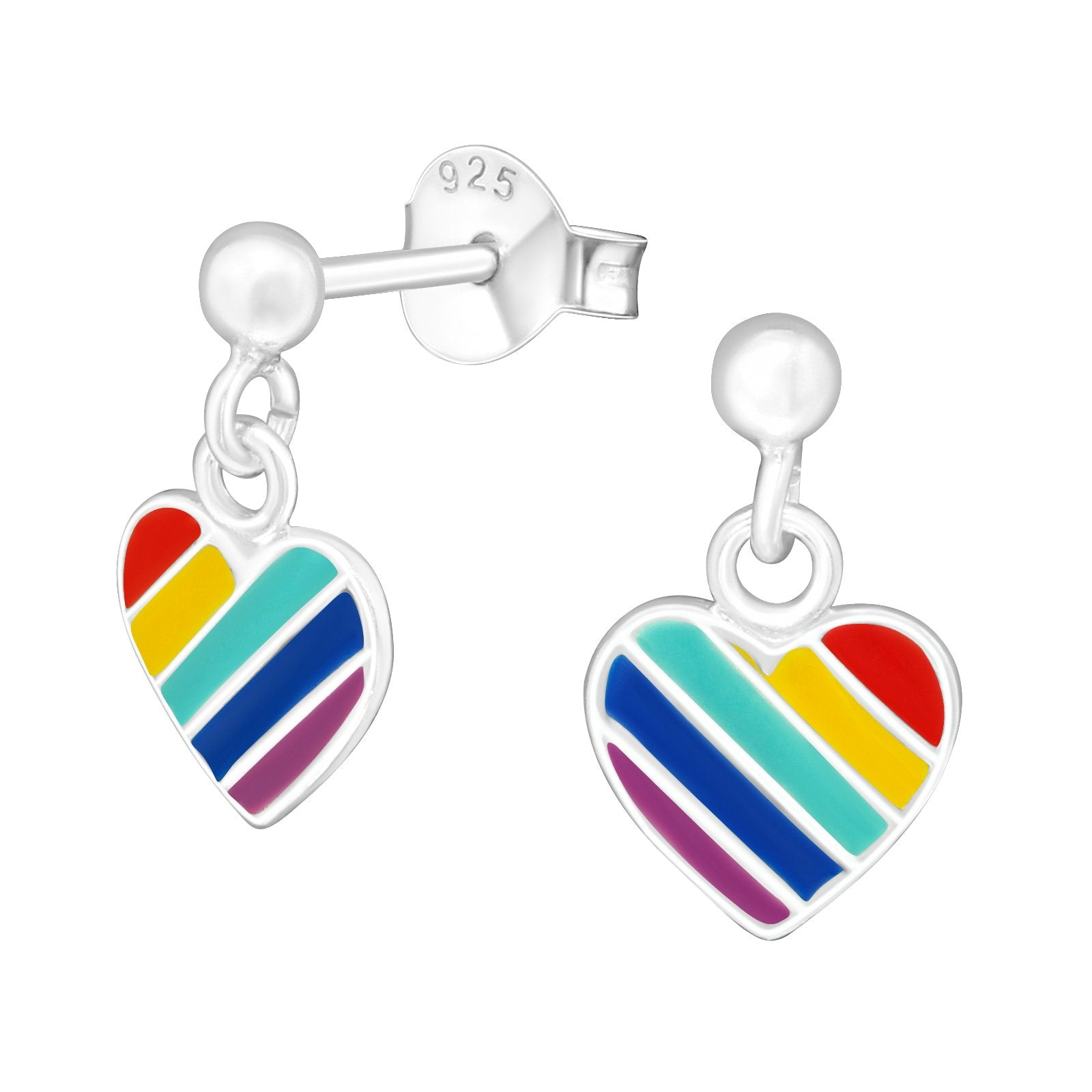 Silver Ball With Hanging Heart Earrings