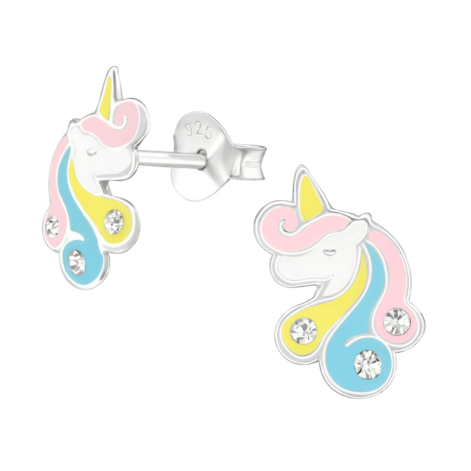 Pastel Unicorn With Crystal Earrings