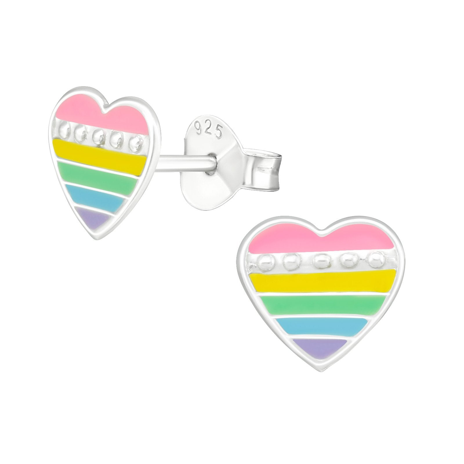 Stripped Colourful Heart Earrings