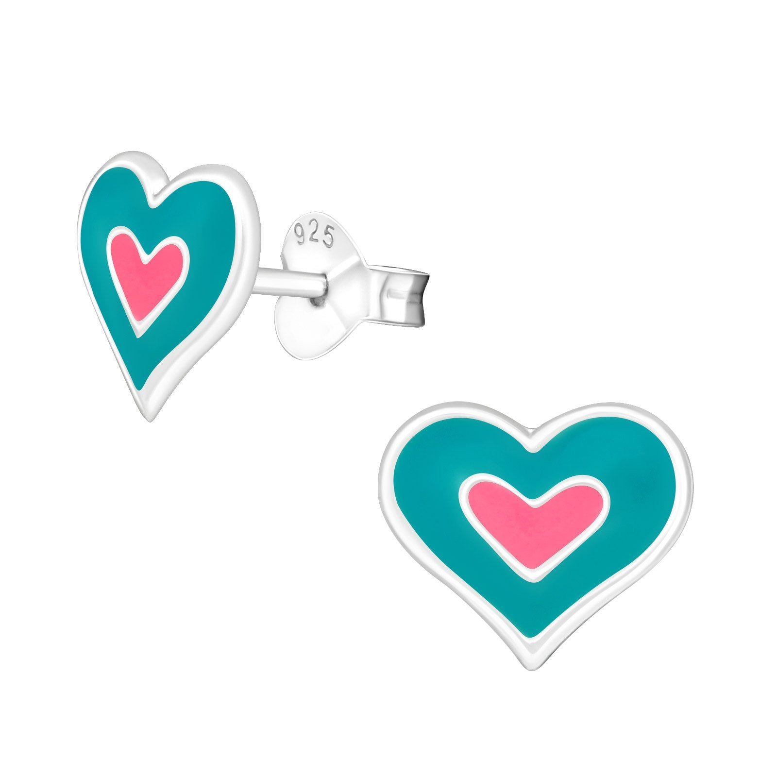 Blue And Pink Heart Earrings