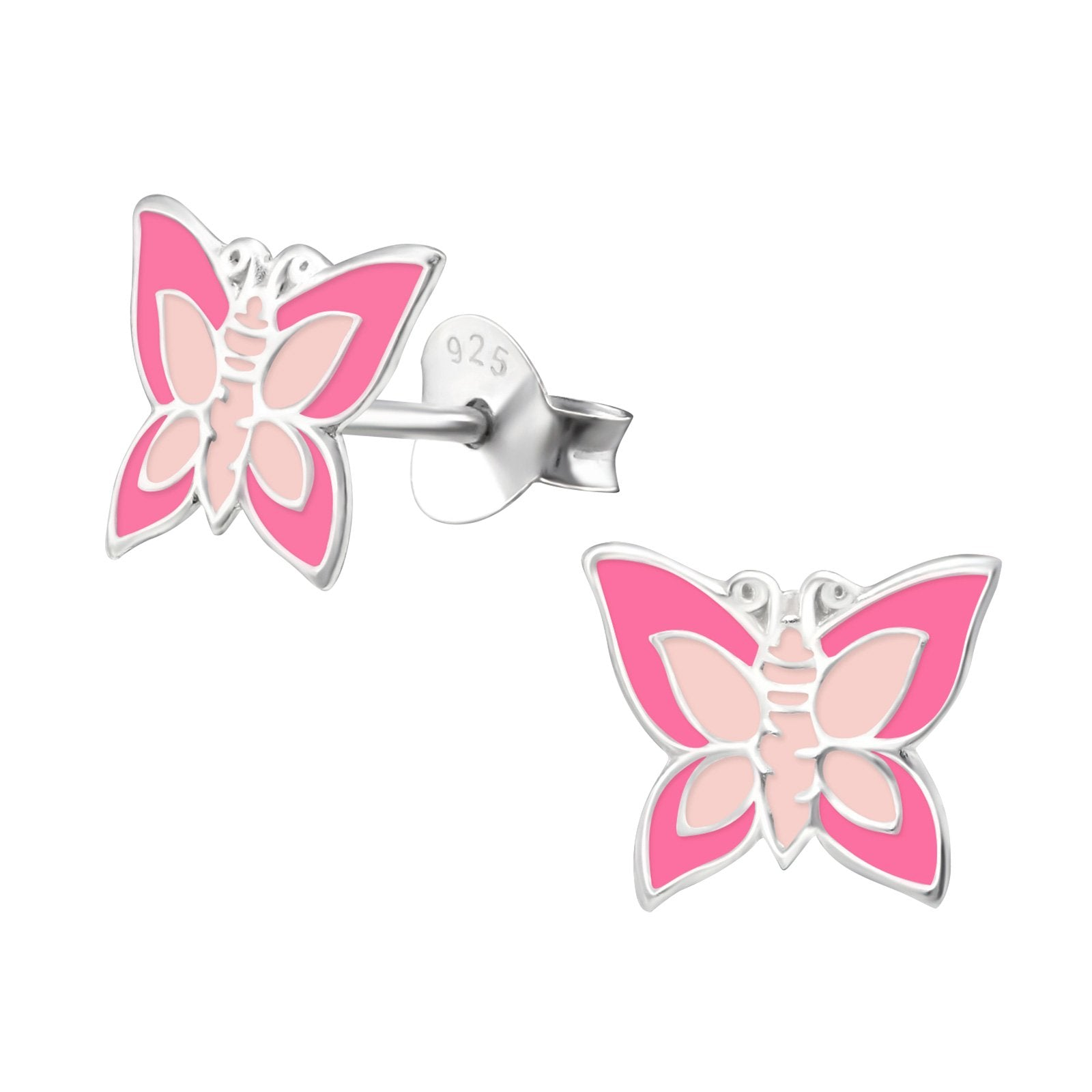 Light Pink And Hot Pink Butterfly Earrings