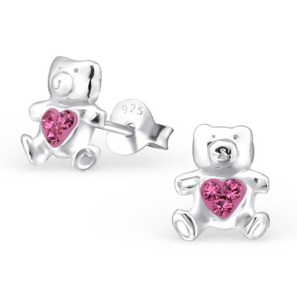 Teddy With Crystal Earrings