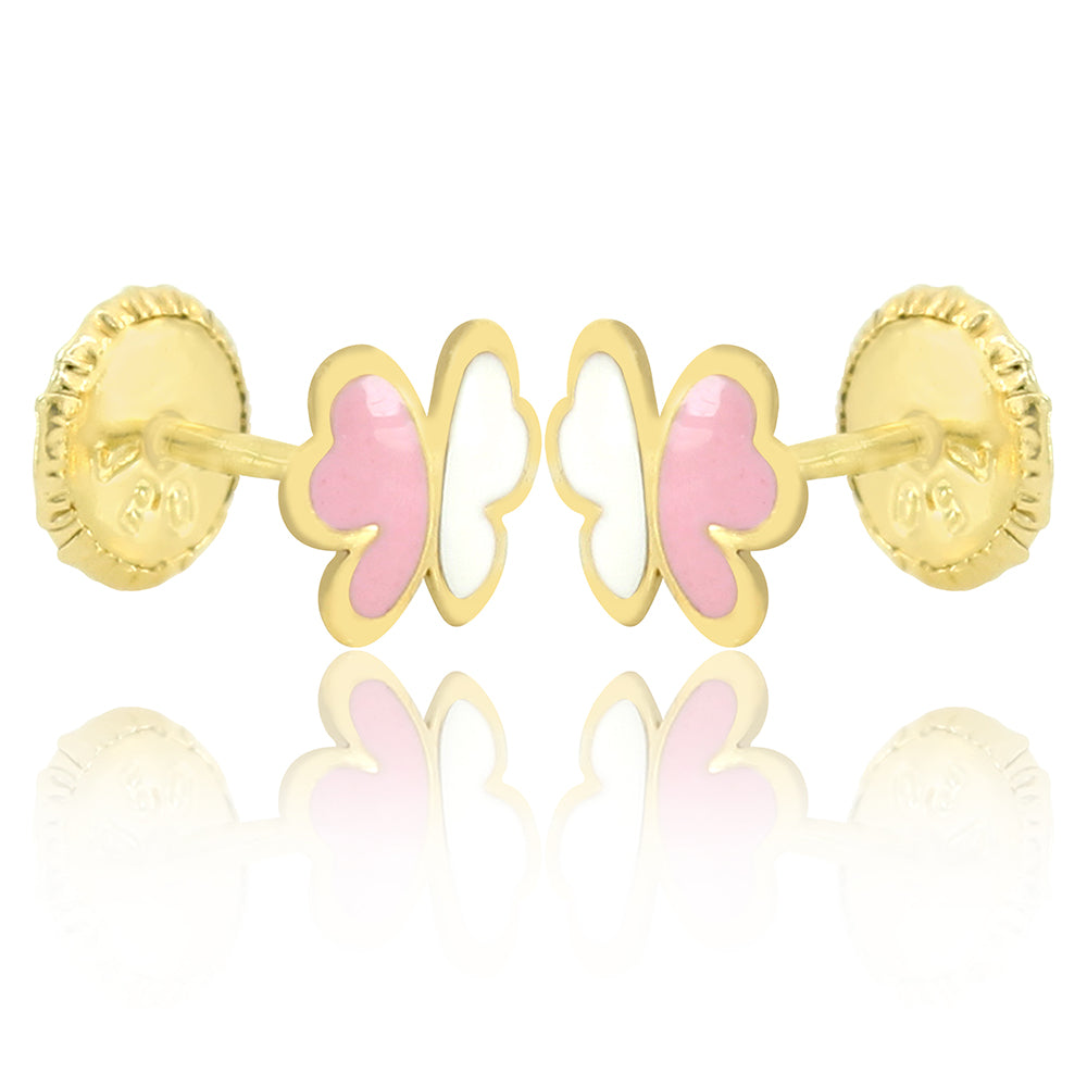GS Papillon Earrings - Pink/White