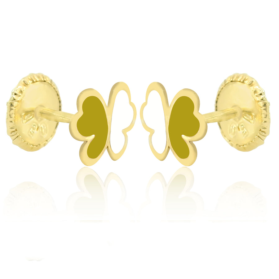 GS Papillon Earrings - Yellow/White