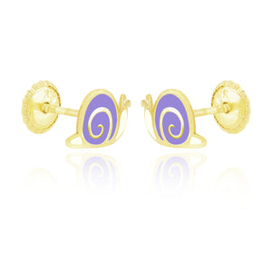 Snugums The Snail Earrings  - Purple