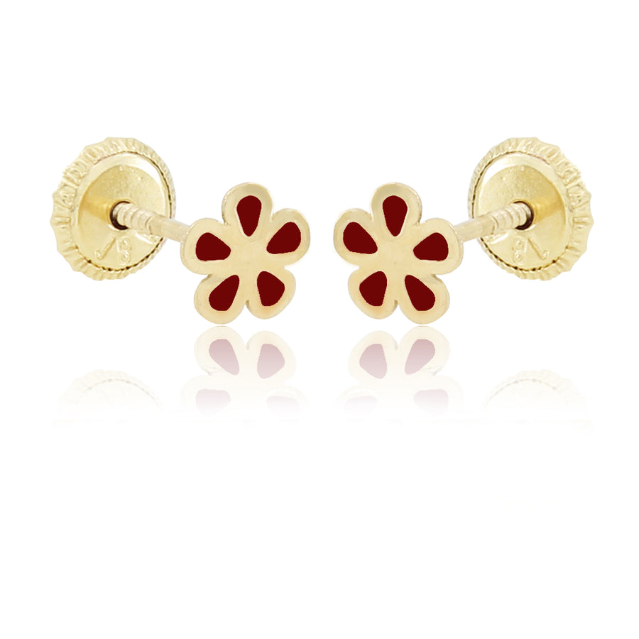Flower Power Earrings - Red