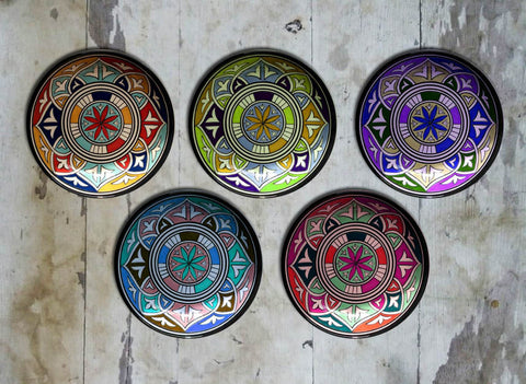 Hand painted Set of 5 Moroccan Wall Plates - Vriksh of Life