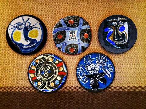 Hand painted set of 5 Picasso Blue Plates - Vriksh of Life