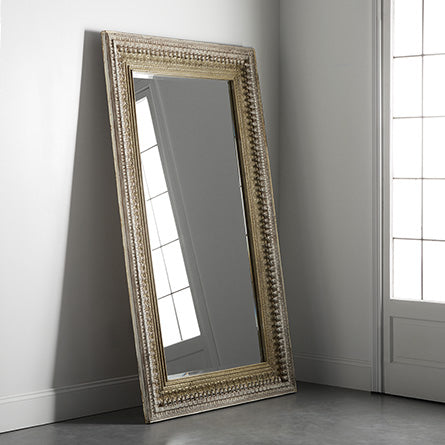 Sheesham Wood Carved Mirror Frame in Distressed Polish