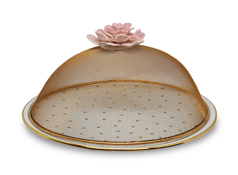 ROSE NET WITH GOLD DOTTED PLATTER (BIG) - Vriksh of Life