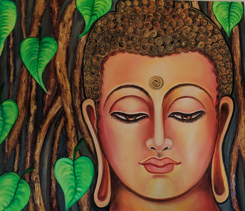 Gautam Buddha under the Bodhi Tree - Canvas Painting - Vriksh of Life