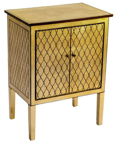 Hand Painted Gold Geometric Two Door Cabinet - Vriksh of Life