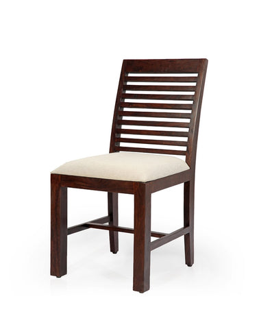 Horizontal striped walnut dining chair - Vriksh of Life