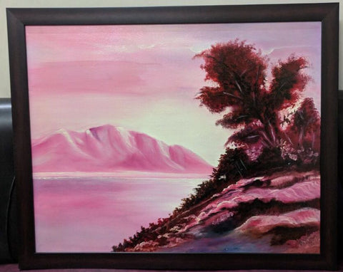 Pink Landscape Framed Painting - Vriksh of Life