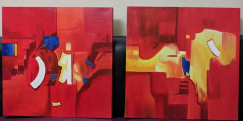 Red Abstract Square Painting (Set of 2) - Vriksh of Life