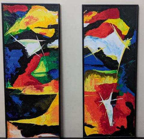Abstract Flame Black Red Painting Framed (Set of 2) - Vriksh of Life