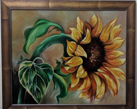 Single Sunflower Framed Painting - Vriksh of Life