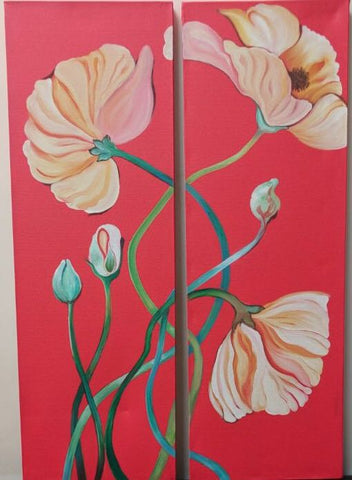 Red & White Flowers Painting (Set of 2) - Vriksh of Life