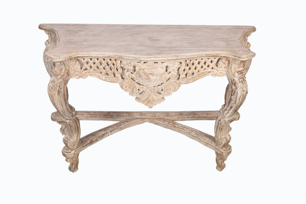 Distressed Polish Teak Wood Carved Decorative Console - Vriksh of Life