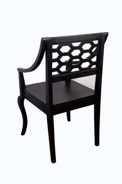 Arm Dining Chair In Warm Chestnut Finish - Vriksh of Life