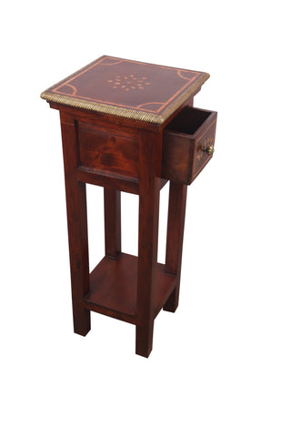Teak Wood Side Table With Brass Work and Camel Bone Inlay - Vriksh of Life