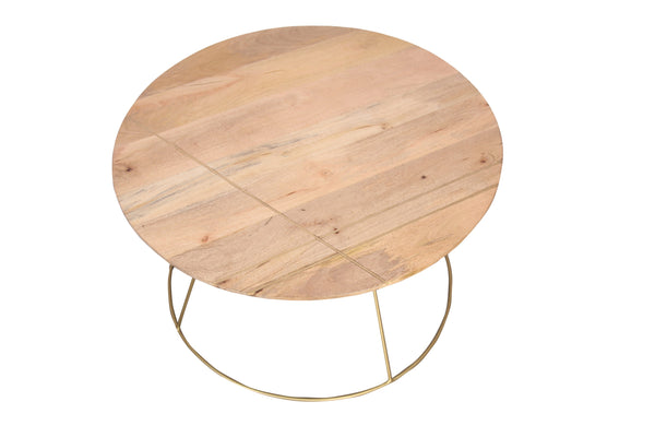 Artdreco Round Coffee Table With Gold Lining And Metal Base - Vriksh of Life