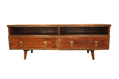 Teak Wood TV Unit Cabinet With Brass Work - Vriksh of Life