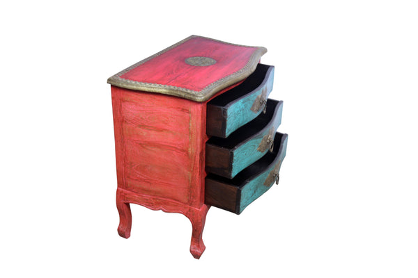 Teak Wood Chest of Drawers In Red and Green Polish and Brass Work - Vriksh of Life