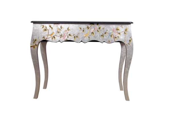 Hand Painted Curved Leg Silver Leaf Console - Vriksh of Life