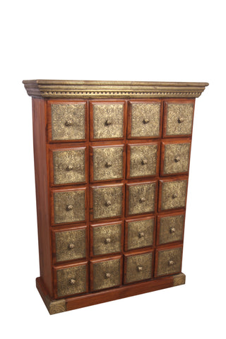 Teak Wood Chest Of Drawers With Brass Work - Vriksh of Life