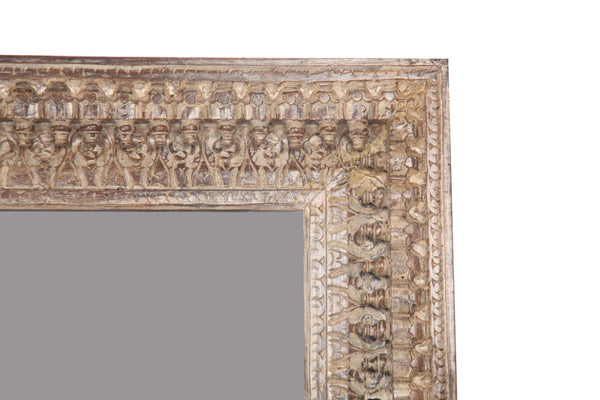 Sheesham Wood Carved Mirror Frame in Distressed Polish - Vriksh of Life