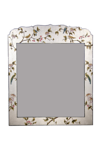 Hand Painted Mirror For Console Silver Leaf Design - Vriksh of Life