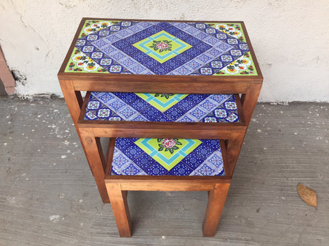 Wooden Nest Of Ceramic Side Tables Set Of 3 - Vriksh of Life
