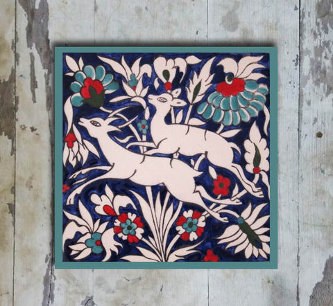 Hand-painted 'IZNIK SQUARE TILE' IZNIK TILE -001 - Vriksh of Life