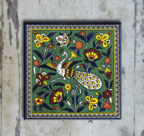 Hand-painted 'IZNIK SQUARE TILE' IZNIK TILE -002 - Vriksh of Life