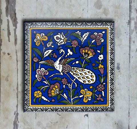 Hand-painted 'IZNIK SQUARE TILE' IZNIK TILE -003 - Vriksh of Life