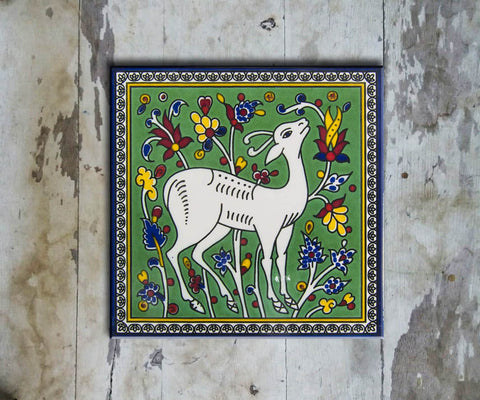 Hand-painted 'IZNIK SQUARE TILE' - Vriksh of Life