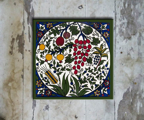 Hand-painted 'IZNIK SQUARE TILE' IZNIK TILE -006 - Vriksh of Life