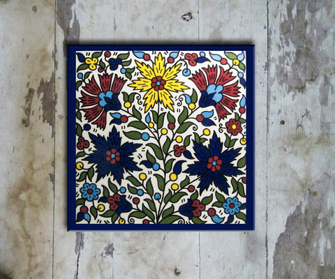 Hand-painted 'IZNIK SQUARE TILE' IZNIK TILE -007 - Vriksh of Life