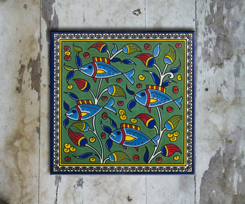 Hand-painted 'IZNIK SQUARE TILE' IZNIK TILE -008 - Vriksh of Life