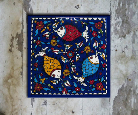 Hand-painted 'IZNIK SQUARE TILE' IZNIK TILE -010 - Vriksh of Life