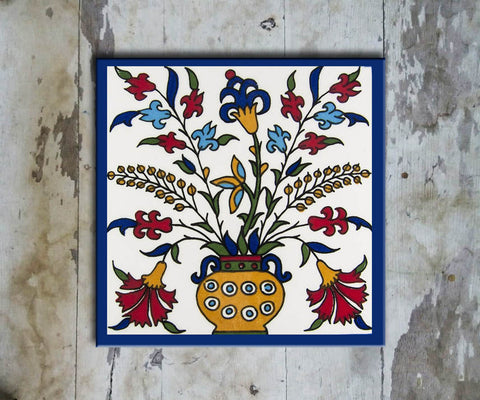 Hand-painted 'IZNIK SQUARE TILE' IZNIK TILE -011 - Vriksh of Life