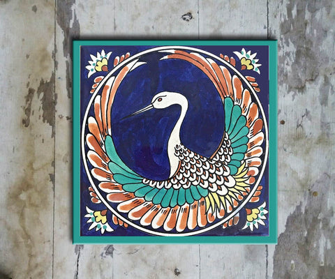 Hand-painted 'IZNIK SQUARE TILE' IZNIK TILE -013 - Vriksh of Life