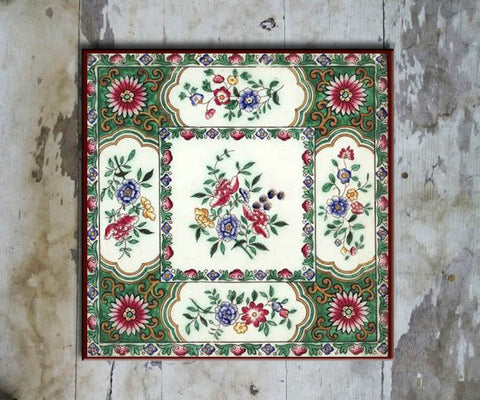 Hand-painted 'IZNIK SQUARE TILE' IZNIK TILE -014 - Vriksh of Life