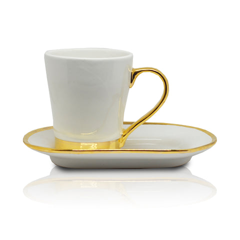 METALLIC COFFEE MUG WITH SAUCER - Vriksh of Life